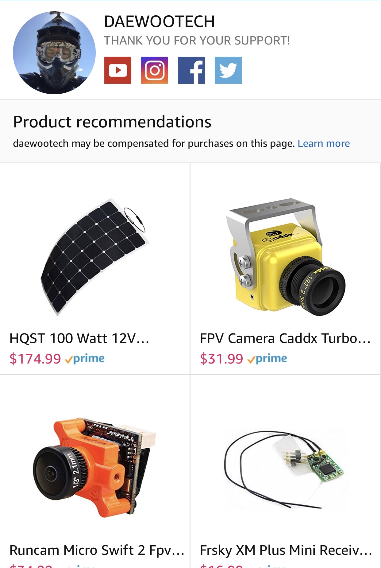 New Amazon Influencer Share page